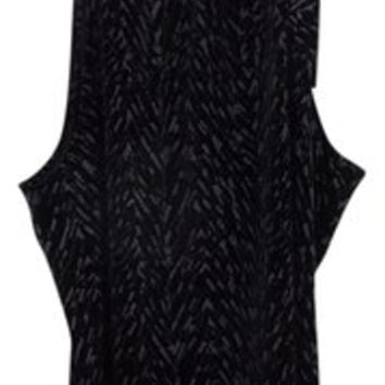 Style & Co Black Sparkle Velvet Sparkle Line Print & Sleeveless Size L Glitter Halter Neck Tie Collar Top