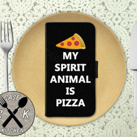 My Spirit Animal Is Pizza Funny Quote Tumblr Inspired Wallet Phone Case iPhone 4 and 4s and iPhone 5 and 5s and 5c iPhone 6 and 6 Plus +