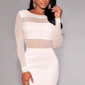 VONE9IB Sexy Bandage Dress New Winter Black White Dress Long Sleeve Mesh