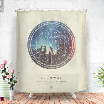 Fernweh Vol 3, shower curtain, nature, photo, unique, home decor, adventure, forest, photograph, curtain, stars, night, beautiful home.