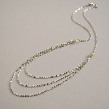 Three Strand Silver Necklace, Tiny Pearl, Triple Chain, Modern Chic Jewelry