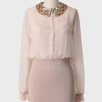 fleurs champagne sequined collar dress at ShopRuche.com