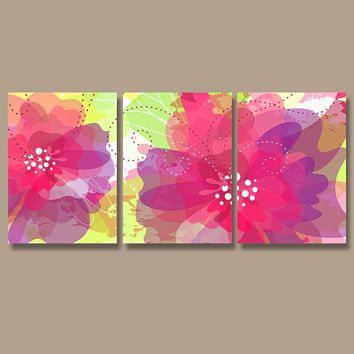 Watercolor FLOWER Wall Art, Pottery CANVAS or Prints, Flourish Decor, Floral Nursery Art, Pink Lime Purple, Bedroom Art, Set of 3 Wall Decor