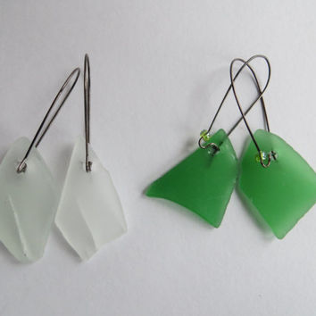 Rough long green or white Sea glass earrings and black steel- Dangle abalone RAW gift from the Netherlands sea for 2017- recycled seaglass