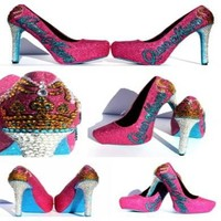 Queen Heels with Crown and Name