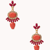 FOREVER 21 Standout Faux Stone Drop Earrings Pink/Coral One