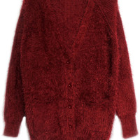 ROMWE | ROMWE V-nekc Buttoned Long Sleeves Burgundy Cardigan, The Latest Street Fashion