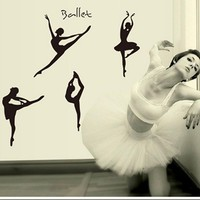 2016 Hot Sale wall stickers home decor Ballet Girl Removable poster home decor  XT