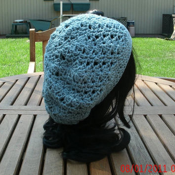 Crochet Hat - Lacey in Summer Sky - Women's hat, Spring, Summer, Fall Accessories