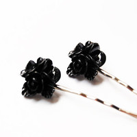 Black Floral Bobby Pins - Set of 2 Black Flower Hair Pins - Handmade Retro Vintage Hair Accessories - Valentine Gift Idea
