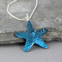 Blue Starfish Pendant, ocean jewelry, copper blue patina, Beach jewelry, Summer jewelry, Metalsmithed