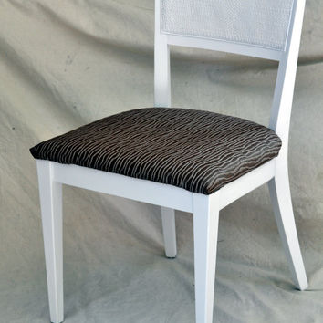 Mid Century Chair  White with Shimmery Brown by TheVelvetBranch