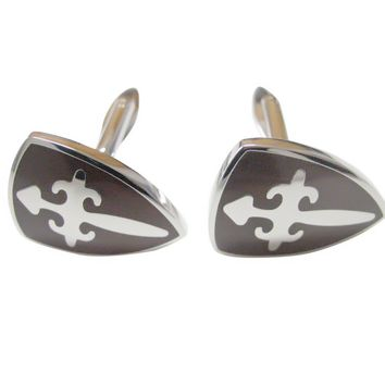 Brown Medieval Shield Cufflinks