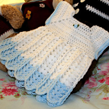 Crochet baby dress summer girl clothes white blue crochetyknitsnbits hand made layette baby shower gift New born baby girl 0 to 3 months