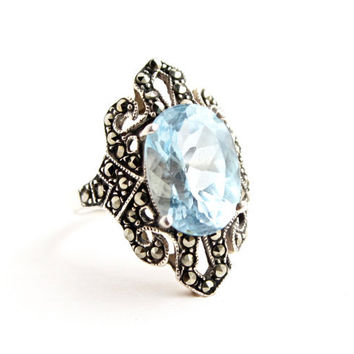 Vintage Sterling Silver Ring -  Size 7 Aquamarine Blue Glass Stone Costume Jewelry / Marquise Marcasite