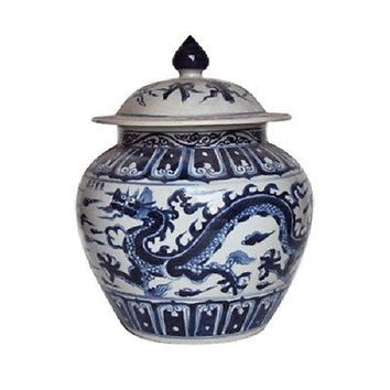 "Beautiful Blue and White Porcelain Ginger Jar Dragon Motif 16"" with Lid"
