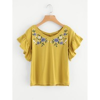 Flower Embroidered Frilled Sleeve Tee