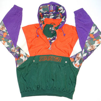 Vintage 90s STARTER Jacket Parka Fresh Prince UM Miami Hurricanes Colors Hip Hop
