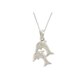 Sterling Silver Double Dolphin Diamond Necklace (.01 cttw, I-J, I2-I3)