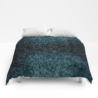 Polygonal blue and black Comforters by vanessagf