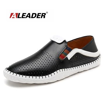 Summer Casual Shoes Men Breathable Driving Shoes Genuine Leather Mens Loafers Slip On For Men