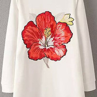 White Floral-embroidery Dress