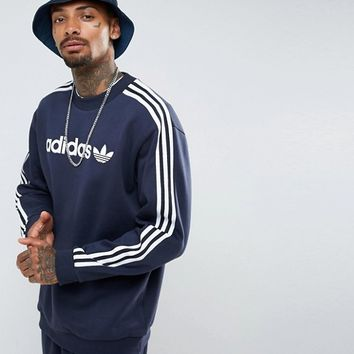 adidas Originals Adicolor Linear Crew Neck Sweat In Navy BR4222 at asos.com
