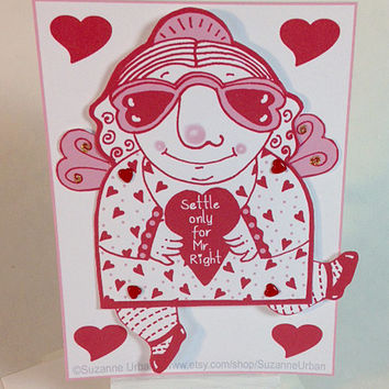 Valentine Articulated Paperdoll Greeting Card Humorous Angel for Single Friend