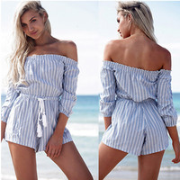 White and Blue Striped Lace Collar Drawstring Romper