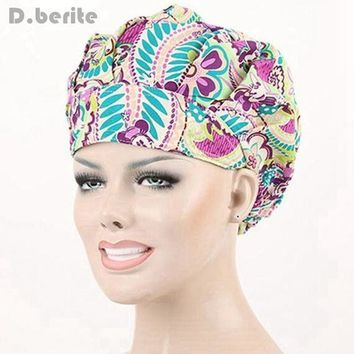 DCCKU62 9 Kinds Pattern Flower Printing Lab Scrub Cap Bouffant Medical Surgical Surgery Hat Nursing Cap Unisex Beauty Cap DAJ9018