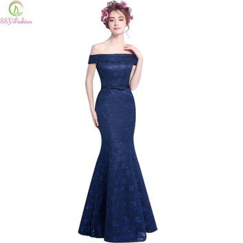 Navy Blue Lace Fishtail Evening Dress Bride Slim Sexy Boat Neck Floor-length Mermaid Party Prom Dress