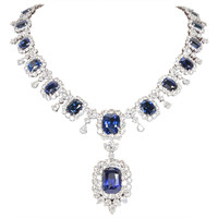 Important Cushion Cut Ceylon Sapphire Diamond Platinum Necklace