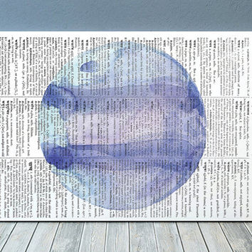 Neptune poster Planet print Dictionary print Watercolor decor RTA1978