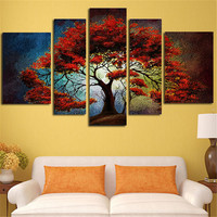 5Planes Wall Paintings Canvas Art Poster Landscape Tree Large Size Prints Picture For Living Room Home Decoration Without Frame