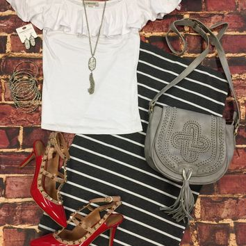 Shake Things Up Cold Shoulder Top: White