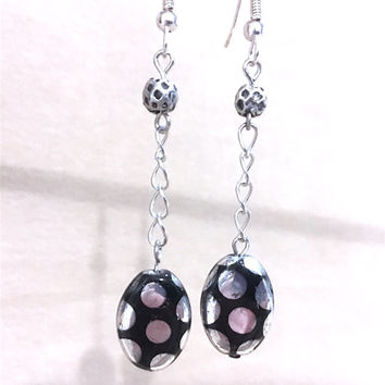 Black & Silver Polka Dot Destressed Oval Glass Bead Chain Dangle Earrings, Handmade Design Original Fashion Jewelry, Unique Ladies Gift Idea