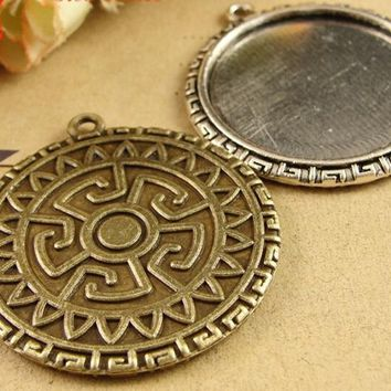 31*34MM Fit 30MM Antique Bronze round metal stamping blank, tibetan silver tone cameo cabochon setting, bezel pendant base tray