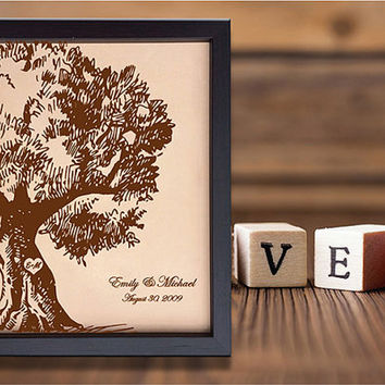 Lik70 Leather Engraved 3rd Anniversary Gift Name Date tree