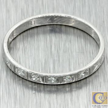 1930s Antique Art Deco 18k White Gold 2mm Diamond Engraved Wedding Band Ring