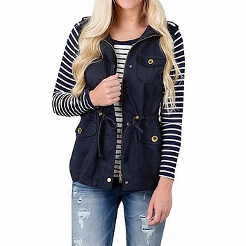 Women's Lightweight Sleeveless Drawstring Jacket Vest