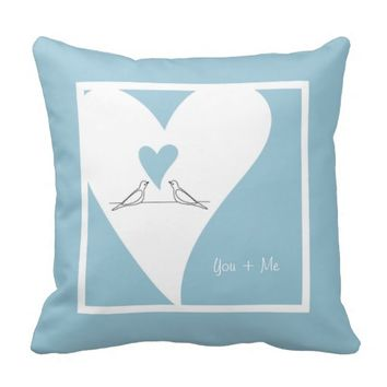 Cute white doves in love personalized girly throw pillows for her birthday, wedding, valentine's day, or any anniversaries: You + Me