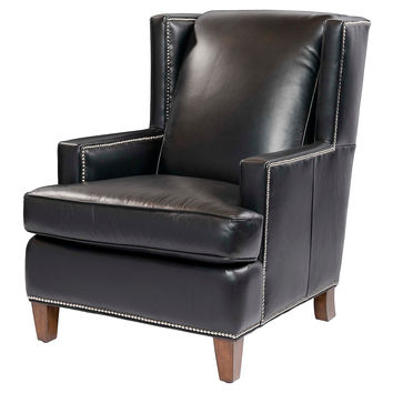 Bradley Leather Wing Chair, Black, Wingbacks