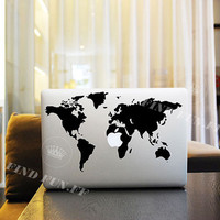 World Map Decal Macbook Air Sticker Macbook Air Decal Macbook Pro Decal 2255