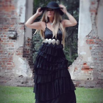M Fall black maxi dress, stevie Nicks style, Black Maxi Dress, Gypsy spell dress, Fall maxi dresses, True rebel clothing