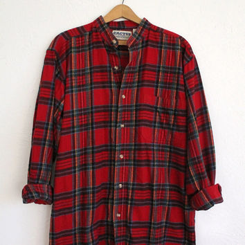 Vintage 80s Men's Red Collarless Flannel Shirt // Long Sleeve Winter Shirt