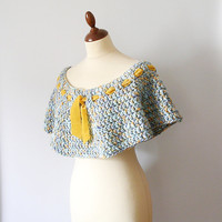 Blue and Yellow Capelet by callmemimi on Etsy
