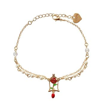 White Imitation Pearl Gold Color Flower Double Chain Bracelet Alice In Wonderland Red Rose Beauty Beast Bracelet For Kids Girls