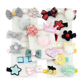 5 PCS/ Set/Pack Bow Flower Star Fur Ball Different Styles with Covered Hair Clips Accessories Pins Barrettes for Baby Girl Toddlers Children