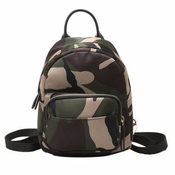 2017 New Spring Women Nylon Mini Backpack Girls Fashion Camouflage School Bag Ladies Multifunction Travel Small Rucksack