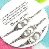 3 Silver Toned Partners in crime handcuff bracelets - REMIND Double Chain bracelets - Best Friend Gift - Gift For Friend